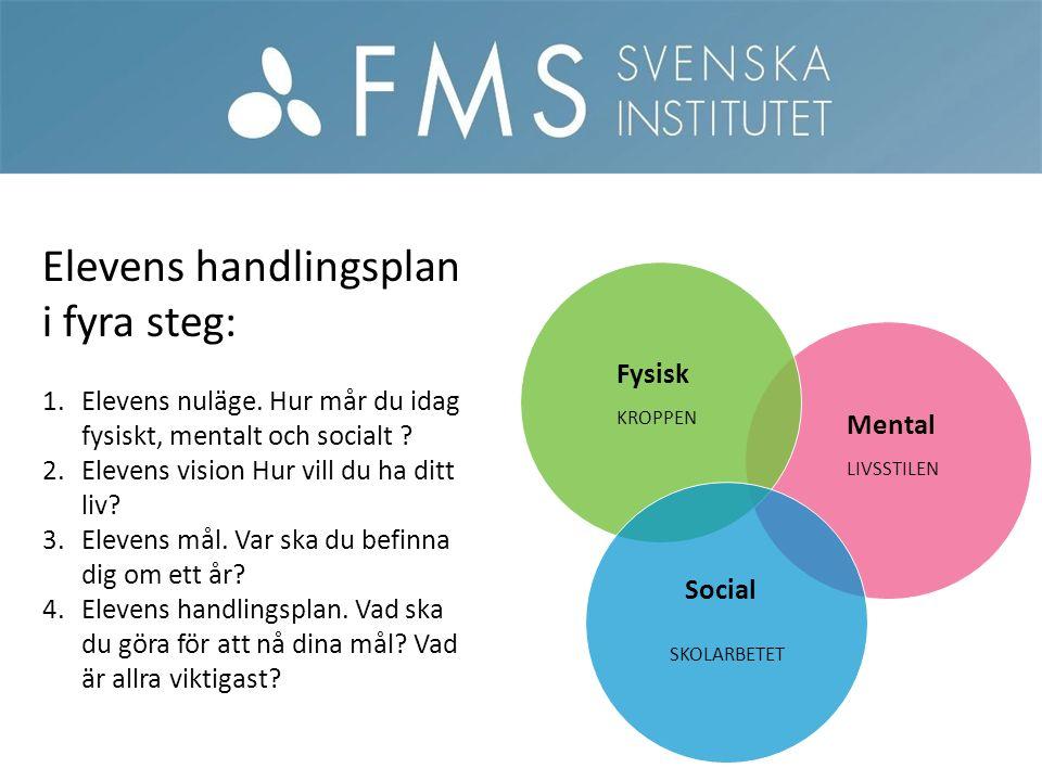Mental Fysisk Social Elevens handlingsplan i fyra steg: 1.Elevens nuläge.