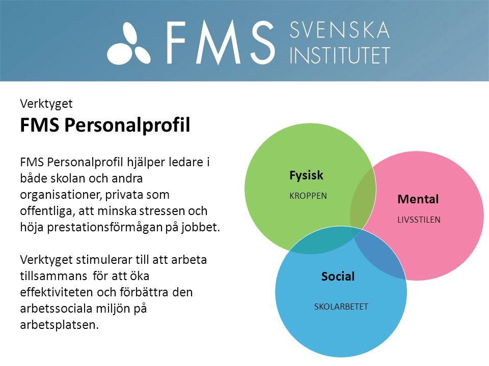 Mental Fysisk Social Verktyget FMS Personalprofil FMS Personalprofil hjälper ledare i både skolan och andra organisationer, privata som offentliga, att minska stressen och höja prestationsförmågan på jobbet.