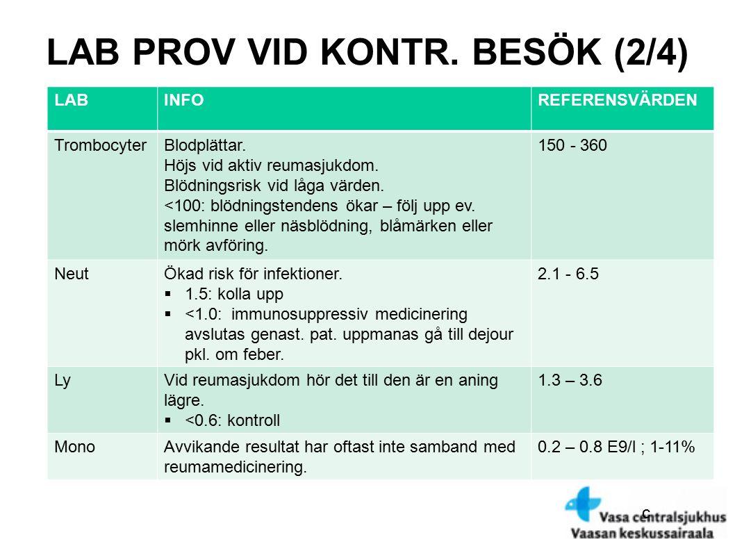 c LAB PROV VID KONTR.BESÖK (2/4) LABINFOREFERENSVÄRDEN TrombocyterBlodplättar.