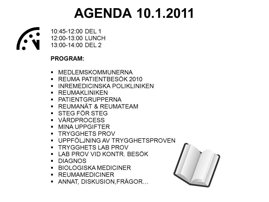10:45-12:00 DEL 1 12:00-13:00 LUNCH 13:00-14:00 DEL 2 PROGRAM:  MEDLEMSKOMMUNERNA  REUMA PATIENTBESÖK 2010  INREMEDICINSKA POLIKLINIKEN  REUMAKLIN