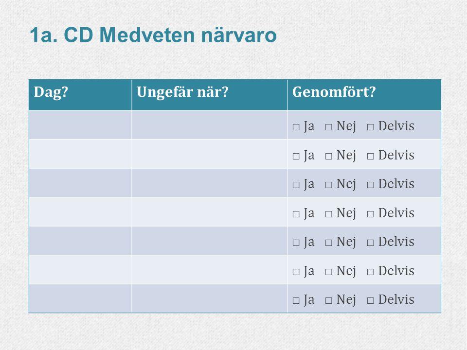 33www.livskompass.se Dag?Ungefär när?Genomfört? □ Ja □ Nej □ Delvis 1a. CD Medveten närvaro