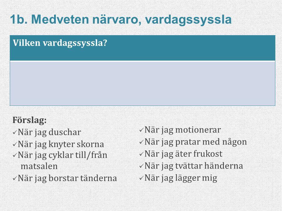 34www.livskompass.se 1b. Medveten närvaro, vardagssyssla Förslag: När jag duschar När jag knyter skorna När jag cyklar till/från matsalen När jag bors