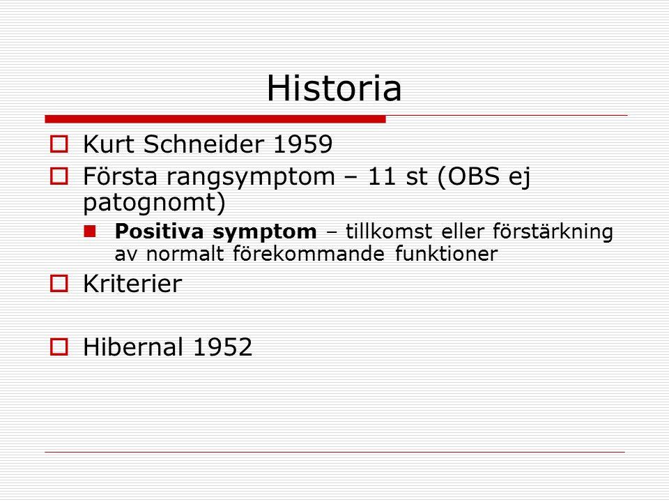 Historia  Kurt Schneider 1959  Första rangsymptom – 11 st (OBS ej patognomt) Positiva symptom – tillkomst eller förstärkning av normalt förekommande funktioner  Kriterier  Hibernal 1952