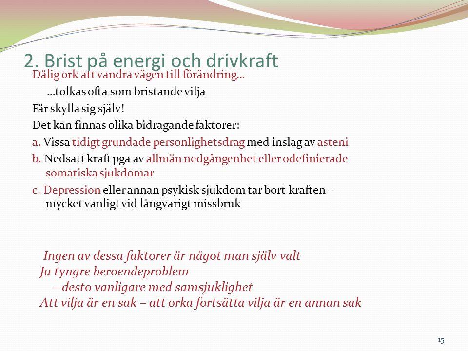 2. Brist på energi och drivkraft Dålig ork att vandra vägen till förändring… …tolkas ofta som bristande vilja Får skylla sig själv! Det kan finnas oli