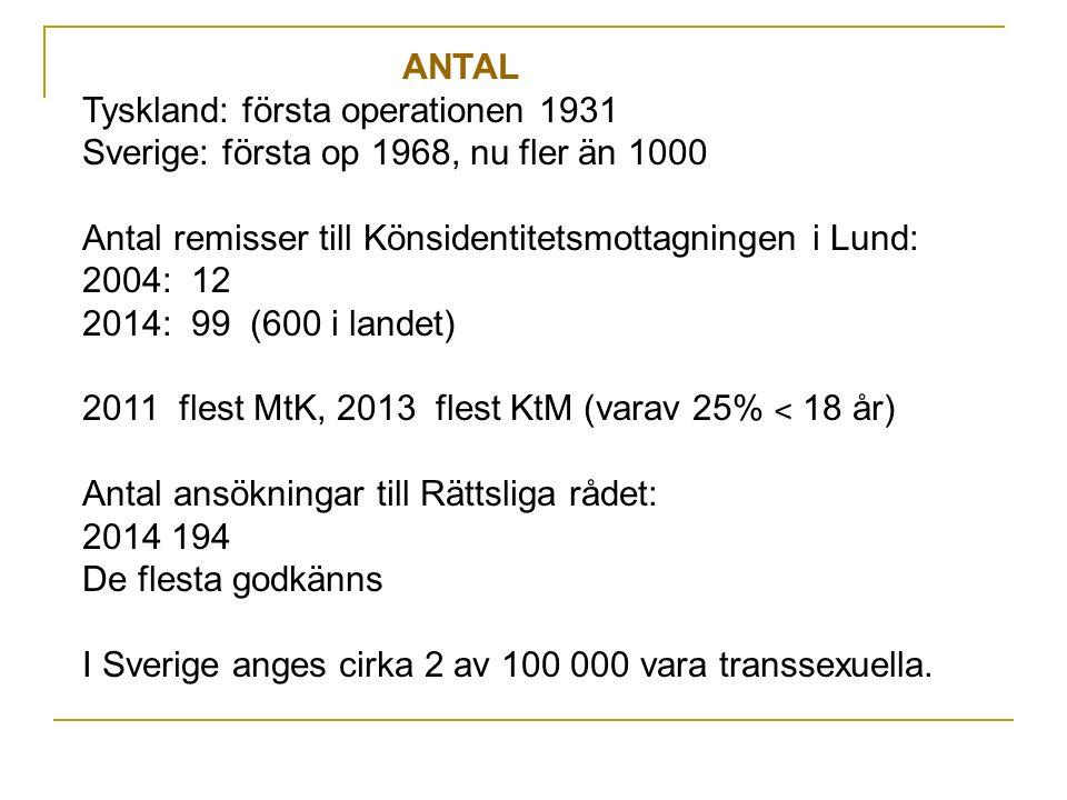ANTAL Tyskland: första operationen 1931 Sverige: första op 1968, nu fler än 1000 Antal remisser till Könsidentitetsmottagningen i Lund: 2004: 12 2014: 99 (600 i landet) 2011 flest MtK, 2013 flest KtM (varav 25% ˂ 18 år) Antal ansökningar till Rättsliga rådet: 2014 194 De flesta godkänns I Sverige anges cirka 2 av 100 000 vara transsexuella.