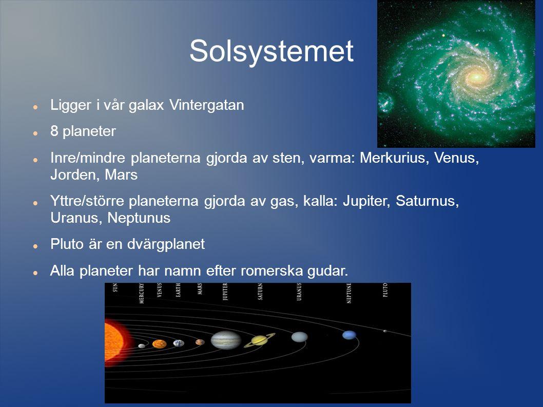 Solsystemet Ligger i vår galax Vintergatan 8 planeter Inre/mindre planeterna gjorda av sten, varma: Merkurius, Venus, Jorden, Mars Yttre/större planeterna gjorda av gas, kalla: Jupiter, Saturnus, Uranus, Neptunus Pluto är en dvärgplanet Alla planeter har namn efter romerska gudar.