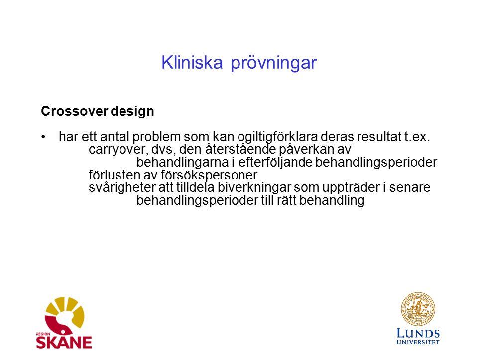 Kliniska prövningar Crossover design har ett antal problem som kan ogiltigförklara deras resultat t.ex.