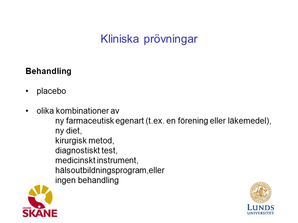 Kliniska prövningar Assessed for eligibility (n= ) Excluded (n= )  Not meeting inclusion criteria (n= )  Declined to participate (n= )  Other reasons (n= ) Analysed (n= )  Excluded from analysis (give reasons) (n= ) Lost to follow-up (give reasons) (n= ) Discontinued intervention (give reasons) (n= ) Allocated to intervention (n= )  Received allocated intervention (n= )  Did not receive allocated intervention (give reasons) (n= ) Lost to follow-up (give reasons) (n= ) Discontinued intervention (give reasons) (n= ) Allocated to intervention (n= )  Received allocated intervention (n= )  Did not receive allocated intervention (give reasons) (n= ) Analysed (n= )  Excluded from analysis (give reasons) (n= ) Allocation Analysis Follow-Up Randomized (n= ) Enrollment CONSORT 2010 Flow Diagram