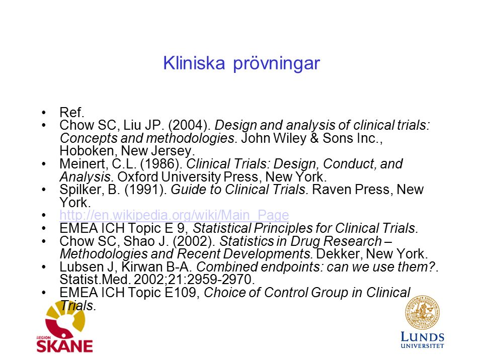 Ref. Chow SC, Liu JP. (2004). Design and analysis of clinical trials: Concepts and methodologies. John Wiley & Sons Inc., Hoboken, New Jersey. Meinert