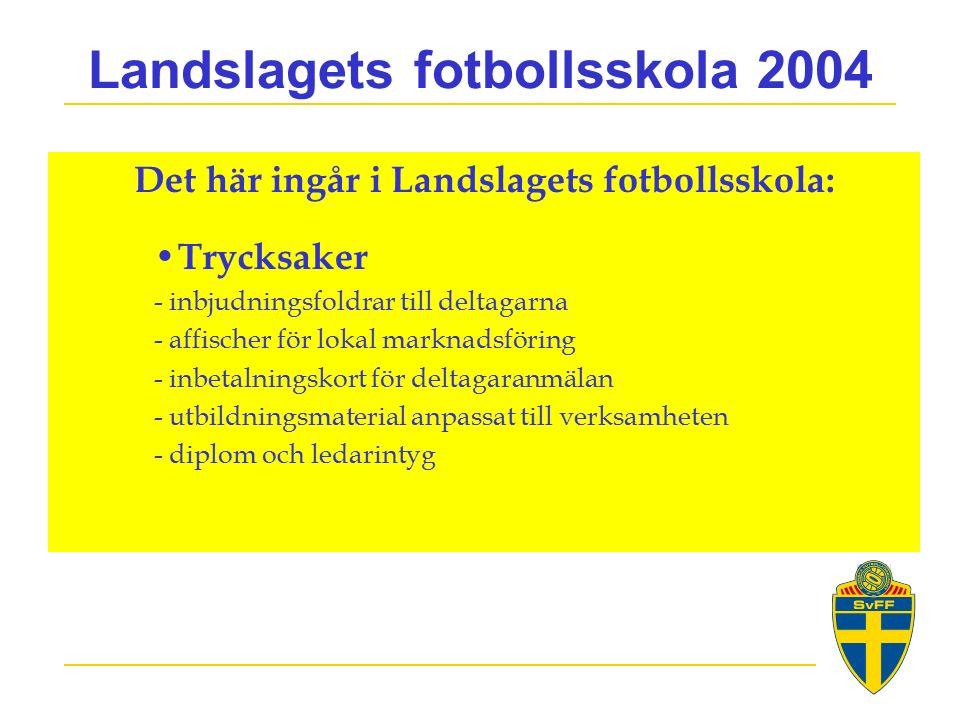Landslagets fotbollsskola 2004 Det här ingår i Landslagets fotbollsskola: Trycksaker - inbjudningsfoldrar till deltagarna - affischer för lokal marknadsföring - inbetalningskort för deltagaranmälan - utbildningsmaterial anpassat till verksamheten - diplom och ledarintyg