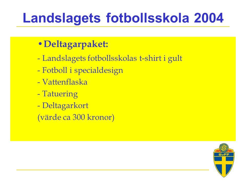 Landslagets fotbollsskola 2004 Deltagarpaket: - Landslagets fotbollsskolas t-shirt i gult - Fotboll i specialdesign - Vattenflaska - Tatuering - Deltagarkort (värde ca 300 kronor)
