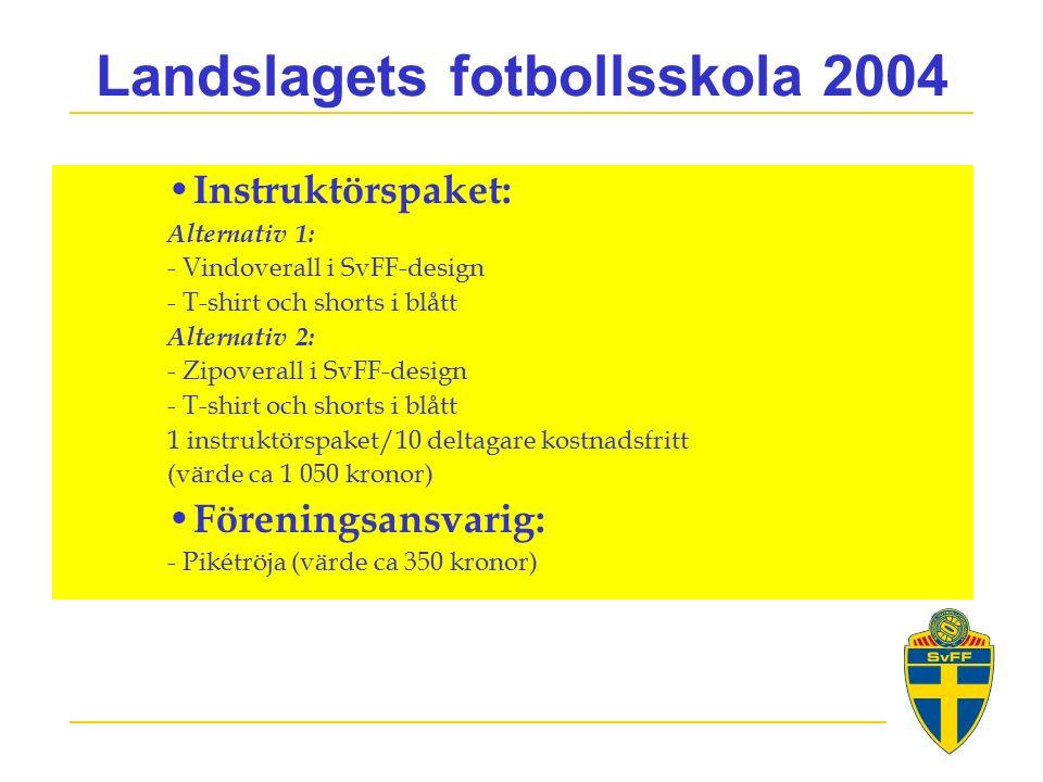 Landslagets fotbollsskola 2004 Instruktörspaket: Alternativ 1: - Vindoverall i SvFF-design - T-shirt och shorts i blått Alternativ 2: - Zipoverall i SvFF-design - T-shirt och shorts i blått 1 instruktörspaket/10 deltagare kostnadsfritt (värde ca 1 050 kronor) Föreningsansvarig: - Pikétröja (värde ca 350 kronor)