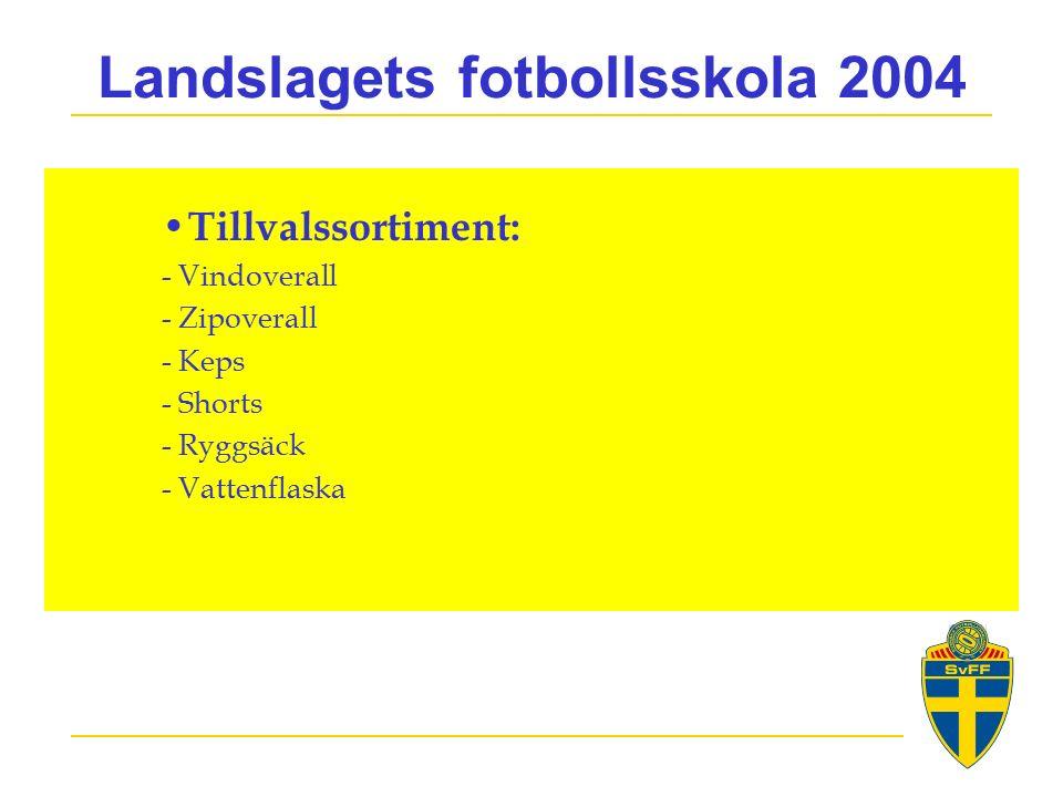 Landslagets fotbollsskola 2004 Tillvalssortiment: - Vindoverall - Zipoverall - Keps - Shorts - Ryggsäck - Vattenflaska