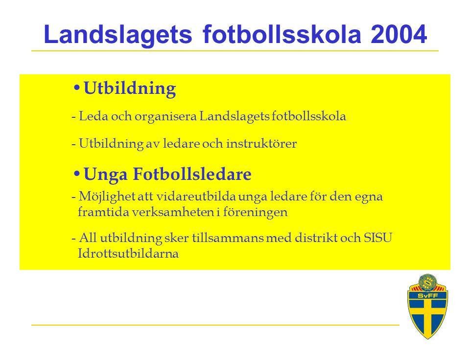 Landslagets fotbollsskola 2004 Utbildning - Leda och organisera Landslagets fotbollsskola - Utbildning av ledare och instruktörer Unga Fotbollsledare - Möjlighet att vidareutbilda unga ledare för den egna framtida verksamheten i föreningen - All utbildning sker tillsammans med distrikt och SISU Idrottsutbildarna