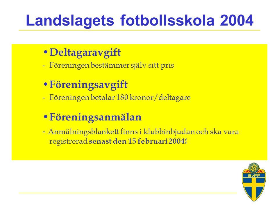 Landslagets fotbollsskola 2004 Deltagaravgift -Föreningen bestämmer själv sitt pris Föreningsavgift -Föreningen betalar 180 kronor/deltagare Föreningsanmälan - Anmälningsblankett finns i klubbinbjudan och ska vara registrerad senast den 15 februari 2004!