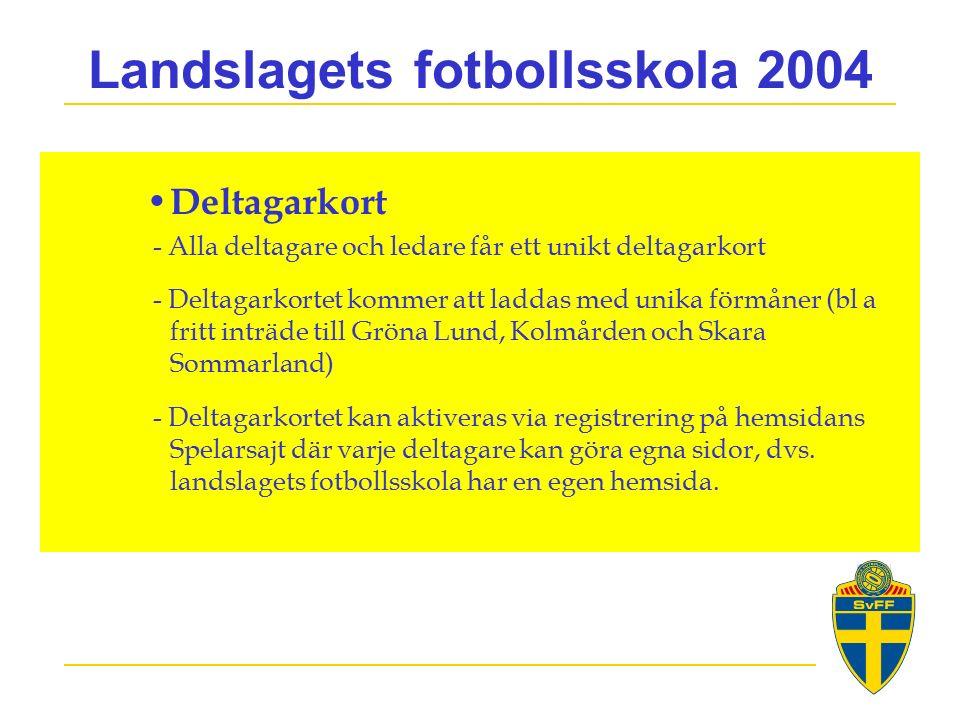Landslagets fotbollsskola 2004 Deltagarkort - Alla deltagare och ledare får ett unikt deltagarkort - Deltagarkortet kommer att laddas med unika förmåner (bl a fritt inträde till Gröna Lund, Kolmården och Skara Sommarland) - Deltagarkortet kan aktiveras via registrering på hemsidans Spelarsajt där varje deltagare kan göra egna sidor, dvs.