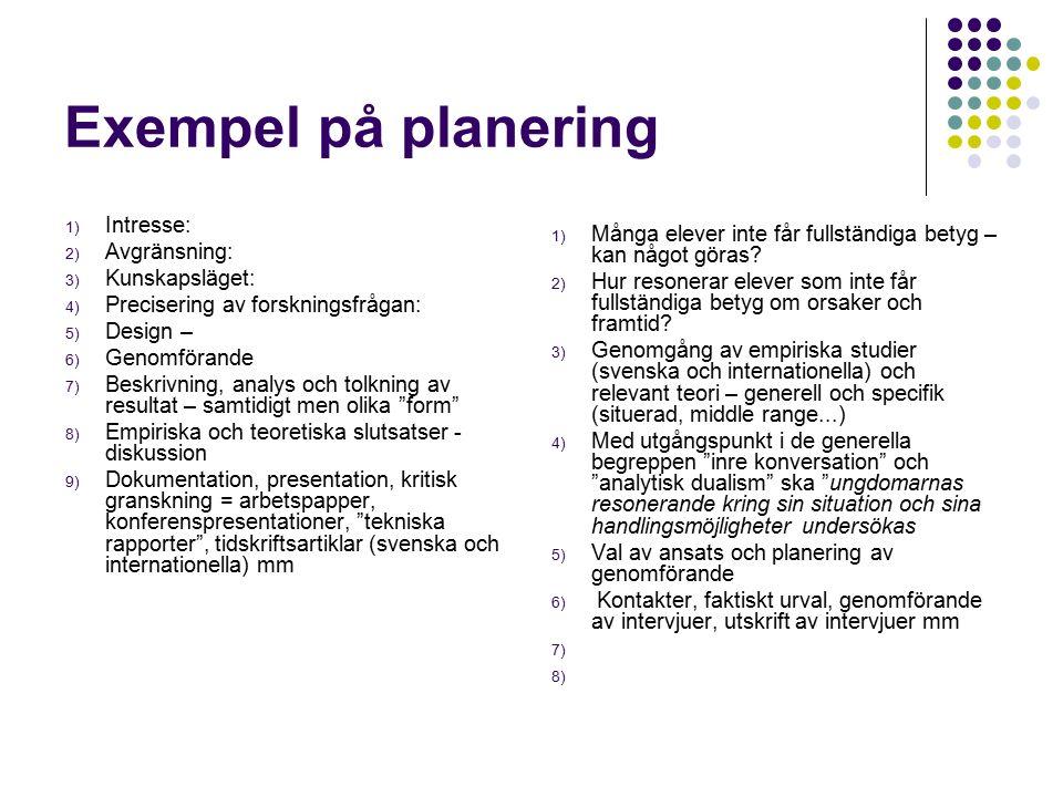 Exempel på planering 1) Intresse: 2) Avgränsning: 3) Kunskapsläget: 4) Precisering av forskningsfrågan: 5) Design – 6) Genomförande 7) Beskrivning, an