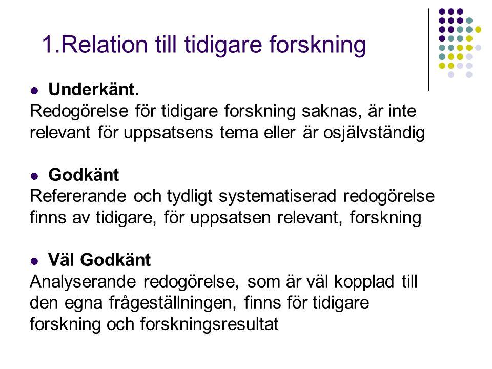 1.Relation till tidigare forskning Underkänt.