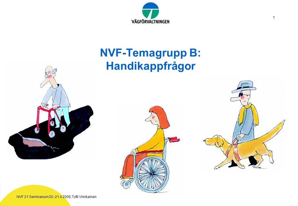 NVF 21 Seminarium 20.-21.4.2005, Tytti Viinikainen 1 NVF-Temagrupp B: Handikappfrågor