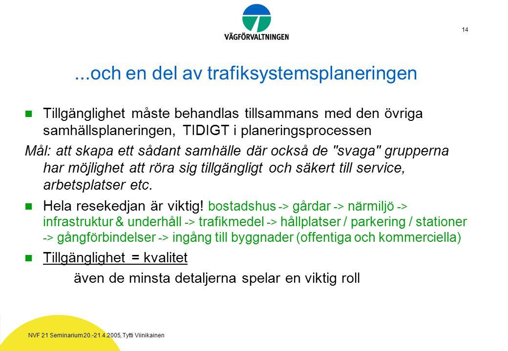 NVF 21 Seminarium 20.-21.4.2005, Tytti Viinikainen 14...och en del av trafiksystemsplaneringen Tillgänglighet måste behandlas tillsammans med den övriga samhällsplaneringen, TIDIGT i planeringsprocessen Mål: att skapa ett sådant samhälle där också de svaga grupperna har möjlighet att röra sig tillgängligt och säkert till service, arbetsplatser etc.
