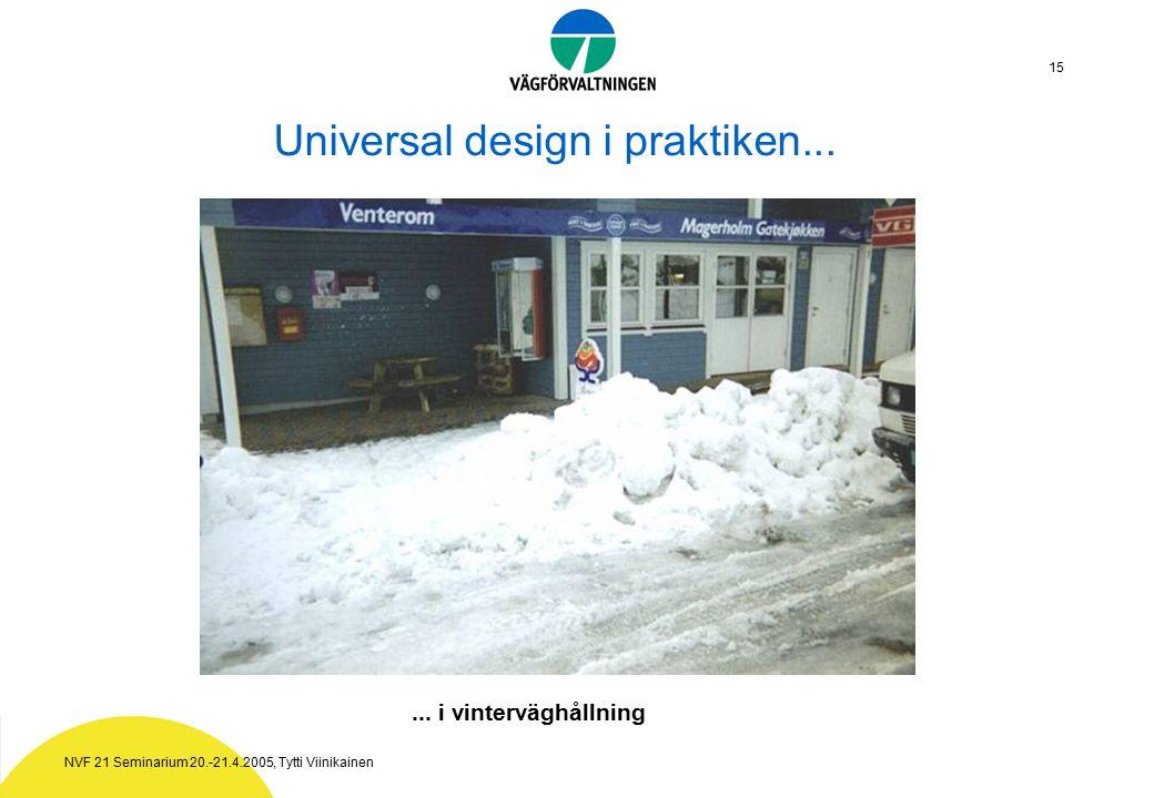 NVF 21 Seminarium 20.-21.4.2005, Tytti Viinikainen 15 Universal design i praktiken......