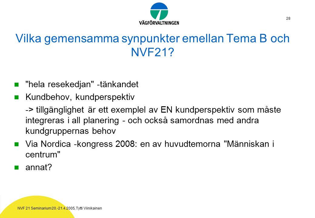 NVF 21 Seminarium 20.-21.4.2005, Tytti Viinikainen 28 Vilka gemensamma synpunkter emellan Tema B och NVF21.