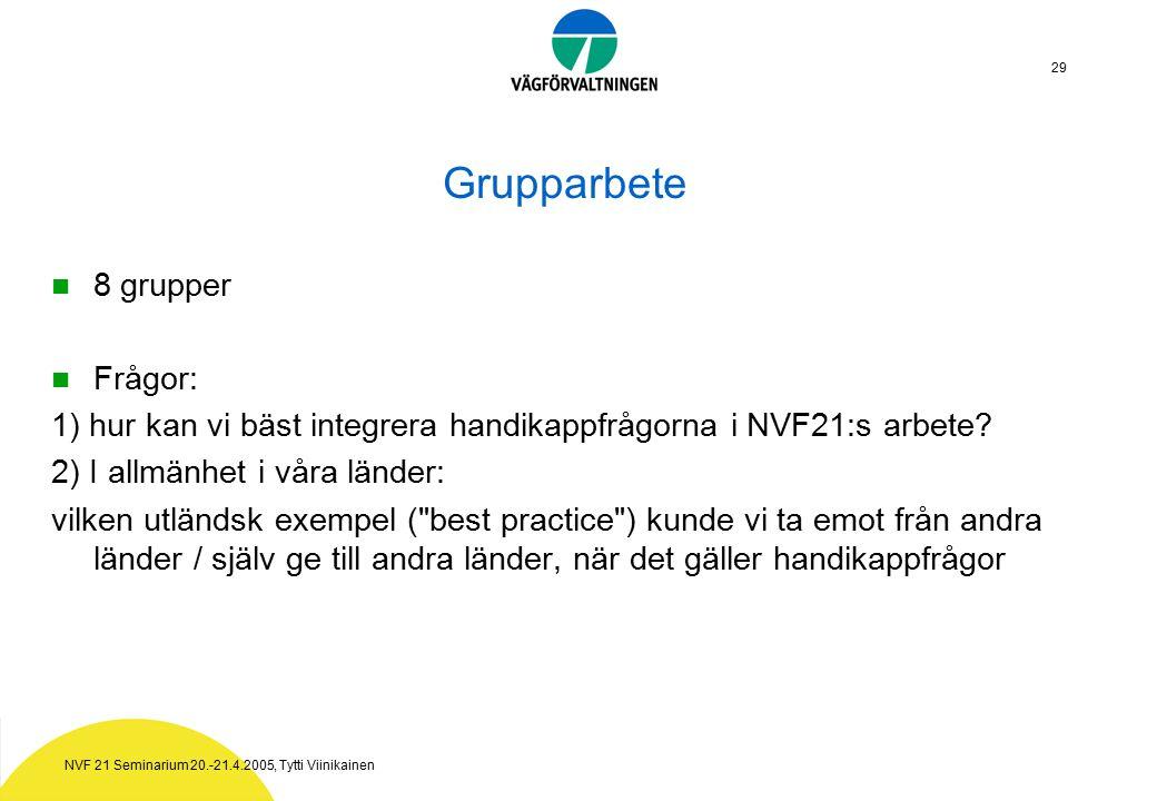NVF 21 Seminarium 20.-21.4.2005, Tytti Viinikainen 29 Grupparbete 8 grupper Frågor: 1) hur kan vi bäst integrera handikappfrågorna i NVF21:s arbete.