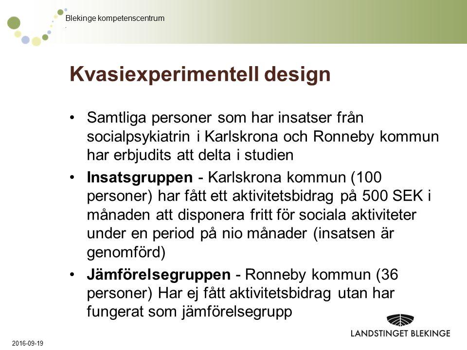 Blekinge kompetenscentrum. Kvasiexperimentell design Samtliga personer som har insatser från socialpsykiatrin i Karlskrona och Ronneby kommun har erbj