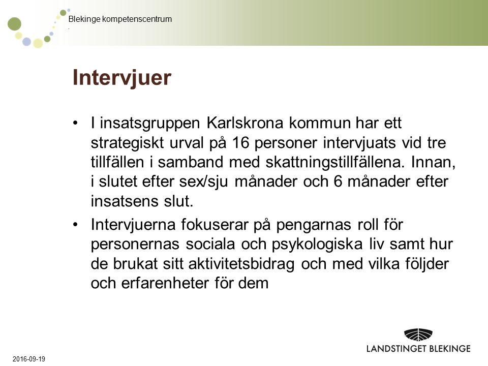 Blekinge kompetenscentrum. Intervjuer I insatsgruppen Karlskrona kommun har ett strategiskt urval på 16 personer intervjuats vid tre tillfällen i samb