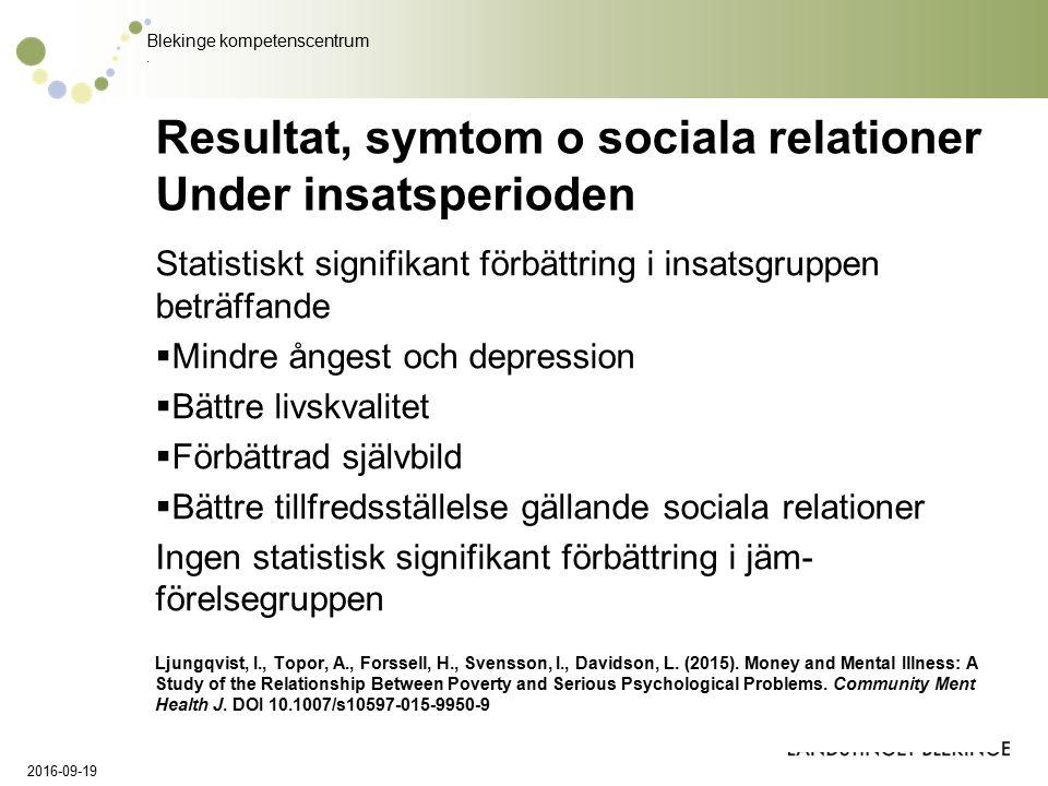 Blekinge kompetenscentrum. Resultat, symtom o sociala relationer Under insatsperioden Statistiskt signifikant förbättring i insatsgruppen beträffande