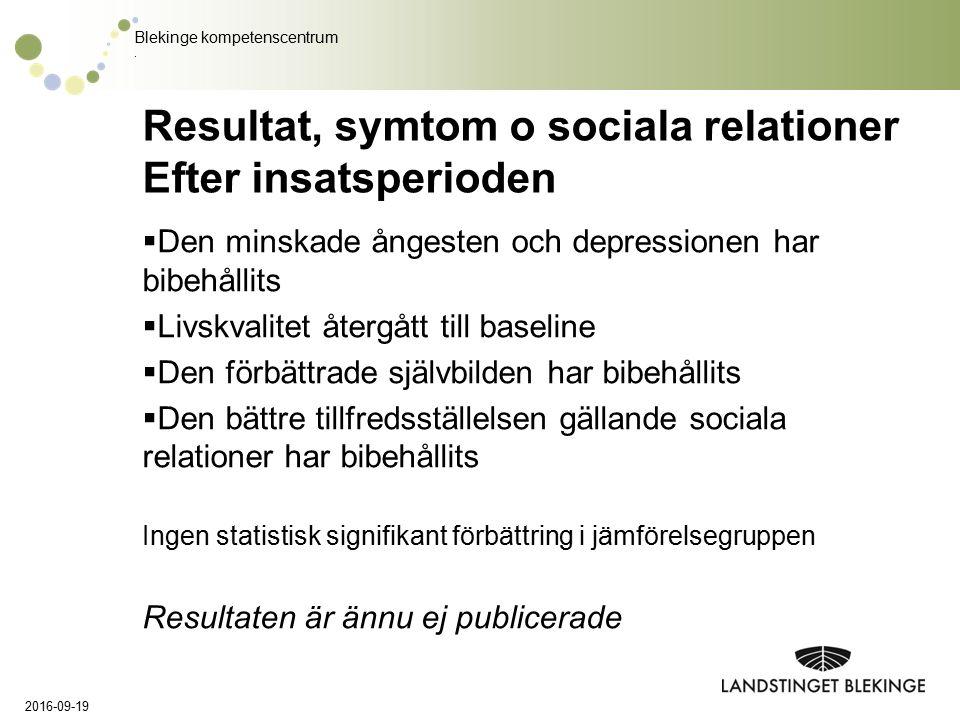 Blekinge kompetenscentrum. Resultat, symtom o sociala relationer Efter insatsperioden  Den minskade ångesten och depressionen har bibehållits  Livsk