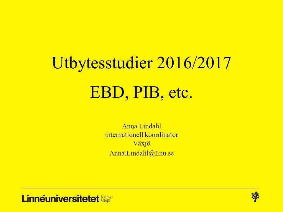 Utbytesstudier 2016/2017 EBD, PIB, etc.
