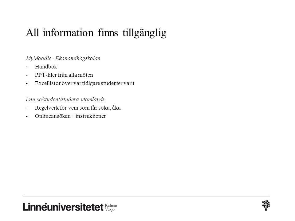 All information finns tillgänglig MyMoodle - Ekonomihögskolan -Handbok -PPT-filer från alla möten -Excellistor över var tidigare studenter varit Lnu.se/student/studera-utomlands -Regelverk för vem som får söka, åka -Onlineansökan + instruktioner