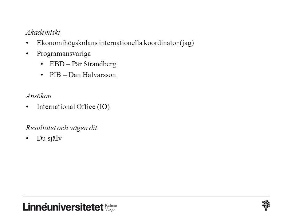 Akademiskt Ekonomihögskolans internationella koordinator (jag) Programansvariga EBD – Pär Strandberg PIB – Dan Halvarsson Ansökan International Office (IO) Resultatet och vägen dit Du själv