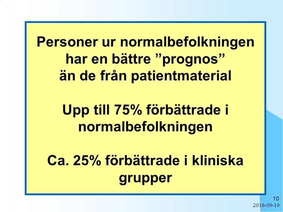 2016-09-19 10 Personer ur normalbefolkningen har en bättre prognos än de från patientmaterial Upp till 75% förbättrade i normalbefolkningen Ca.
