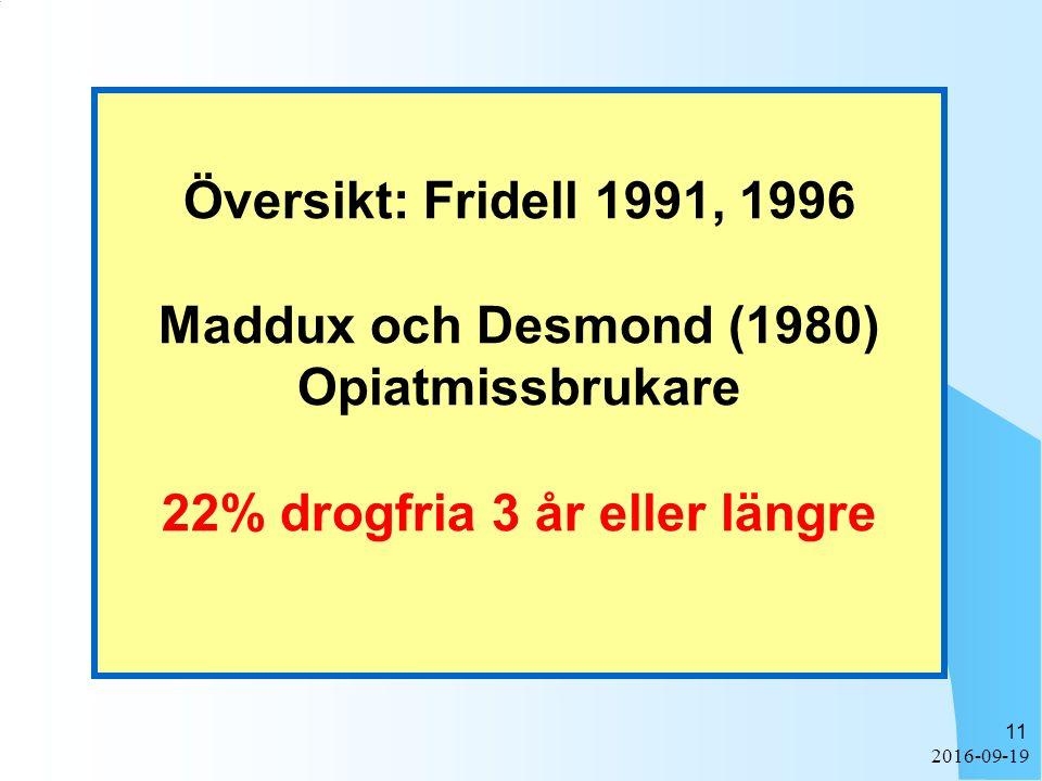 2016-09-19 11 Översikt: Fridell 1991, 1996 Maddux och Desmond (1980) Opiatmissbrukare 22% drogfria 3 år eller längre