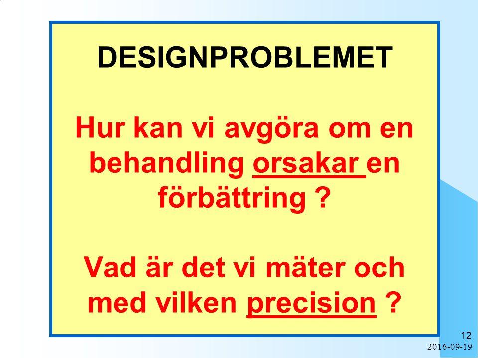 2016-09-19 12 DESIGNPROBLEMET Hur kan vi avgöra om en behandling orsakar en förbättring ? Vad är det vi mäter och med vilken precision ?
