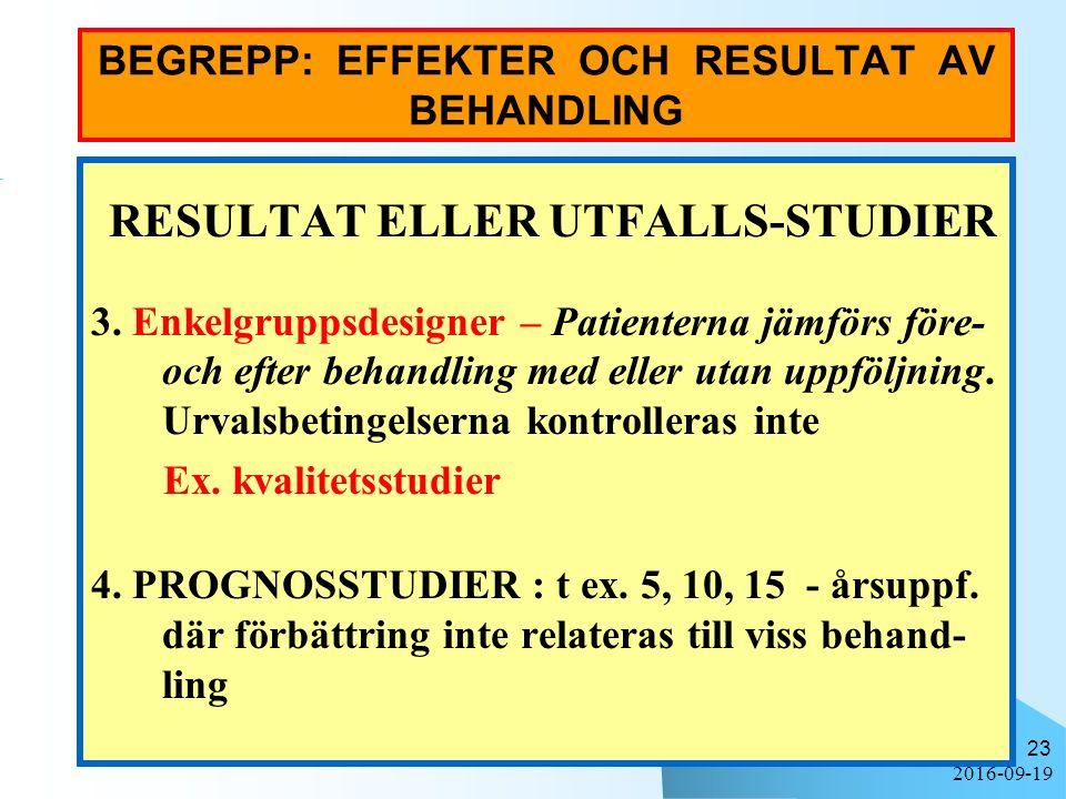 2016-09-19 23 BEGREPP: EFFEKTER OCH RESULTAT AV BEHANDLING RESULTAT ELLER UTFALLS-STUDIER 3. Enkelgruppsdesigner – Patienterna jämförs före- och efter