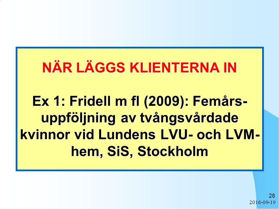 2016-09-19 26 NÄR LÄGGS KLIENTERNA IN Ex 1: Fridell m fl (2009): Femårs- uppföljning av tvångsvårdade kvinnor vid Lundens LVU- och LVM- hem, SiS, Stoc