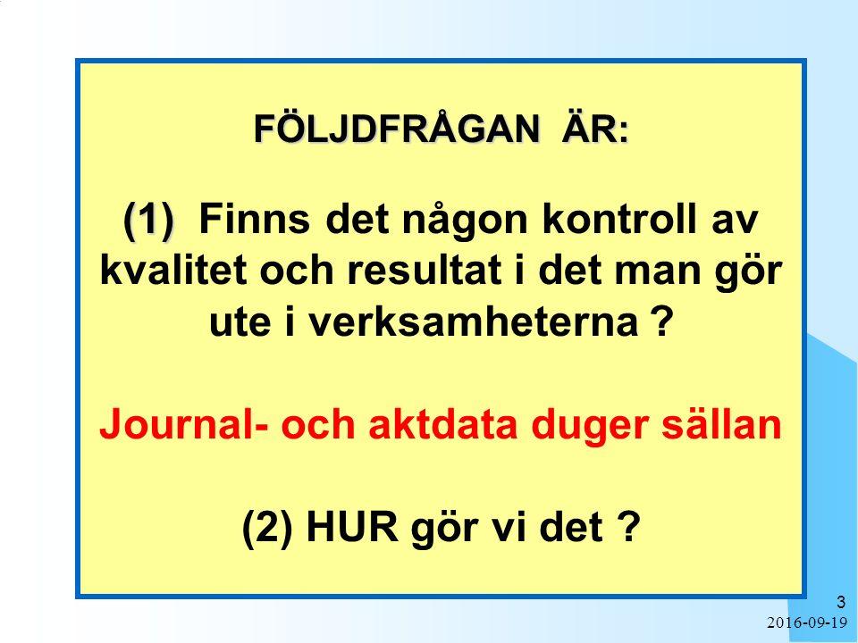 2016-09-19 3 FÖLJDFRÅGAN ÄR: (1) FÖLJDFRÅGAN ÄR: (1) Finns det någon kontroll av kvalitet och resultat i det man gör ute i verksamheterna ? Journal- o