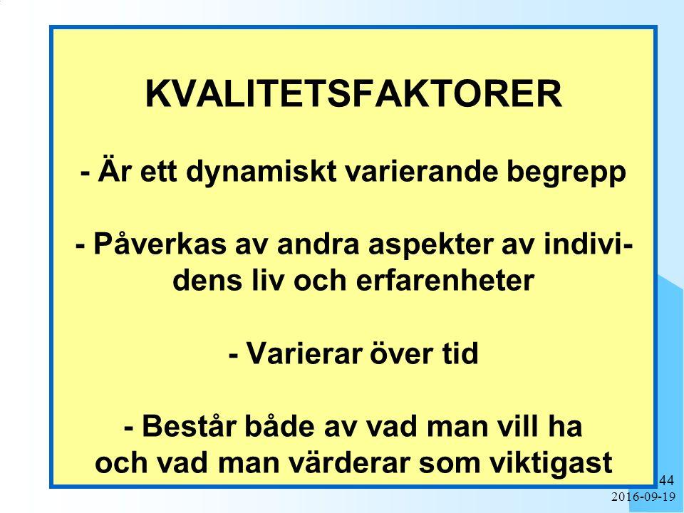 2016-09-19 44 KVALITETSFAKTORER - Är ett dynamiskt varierande begrepp - Påverkas av andra aspekter av indivi- dens liv och erfarenheter - Varierar öve