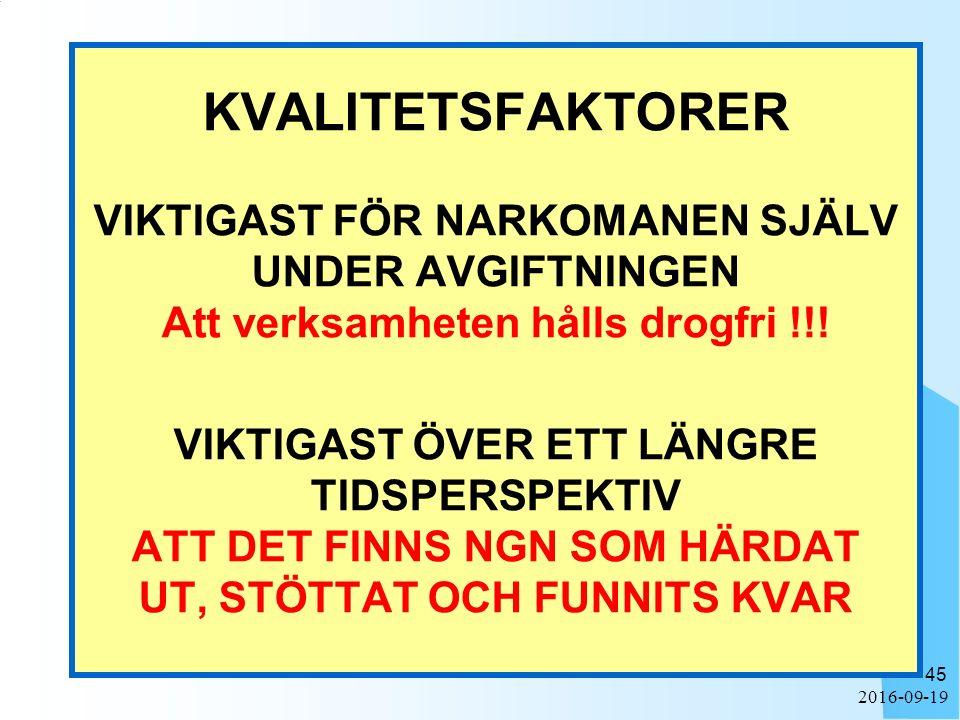 2016-09-19 45 KVALITETSFAKTORER VIKTIGAST FÖR NARKOMANEN SJÄLV UNDER AVGIFTNINGEN Att verksamheten hålls drogfri !!! VIKTIGAST ÖVER ETT LÄNGRE TIDSPER