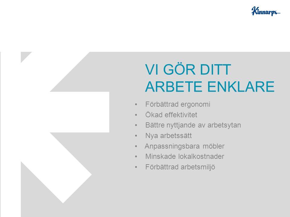 Förbättrad ergonomi Ökad effektivitet Bättre nyttjande av arbetsytan Nya arbetssätt Anpassningsbara möbler Minskade lokalkostnader Förbättrad arbetsmiljö VI GÖR DITT ARBETE ENKLARE