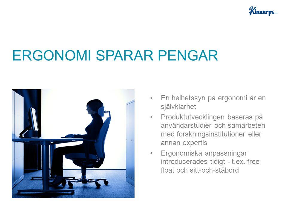 En helhetssyn på ergonomi är en självklarhet Produktutvecklingen baseras på användarstudier och samarbeten med forskningsinstitutioner eller annan expertis Ergonomiska anpassningar introducerades tidigt - t.ex.