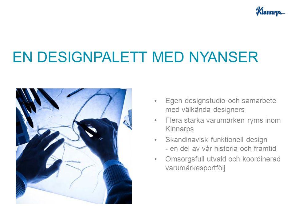 Egen designstudio och samarbete med välkända designers Flera starka varumärken ryms inom Kinnarps Skandinavisk funktionell design - en del av vår historia och framtid Omsorgsfull utvald och koordinerad varumärkesportfölj EN DESIGNPALETT MED NYANSER