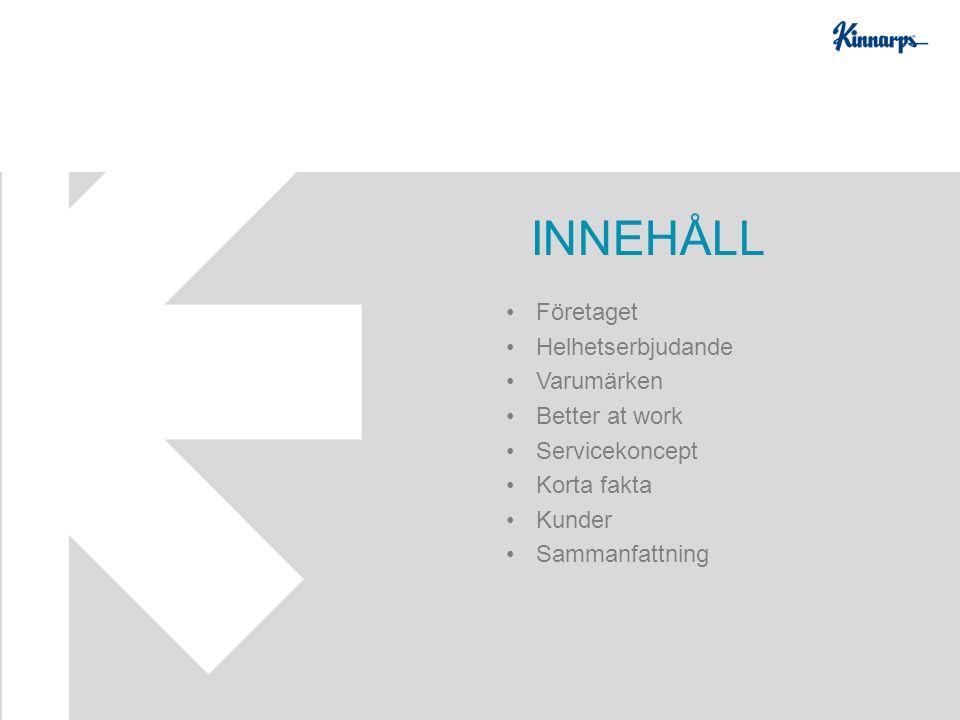 Företaget Helhetserbjudande Varumärken Better at work Servicekoncept Korta fakta Kunder Sammanfattning INNEHÅLL