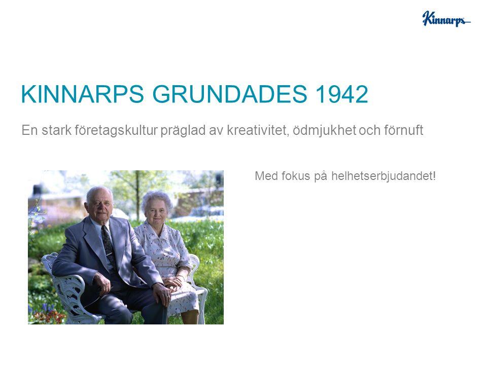 Med fokus på helhetserbjudandet! KINNARPS GRUNDADES 1942 En stark företagskultur präglad av kreativitet, ödmjukhet och förnuft