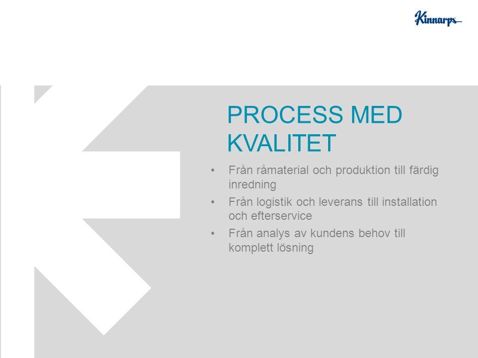 Från råmaterial och produktion till färdig inredning Från logistik och leverans till installation och efterservice Från analys av kundens behov till komplett lösning PROCESS MED KVALITET
