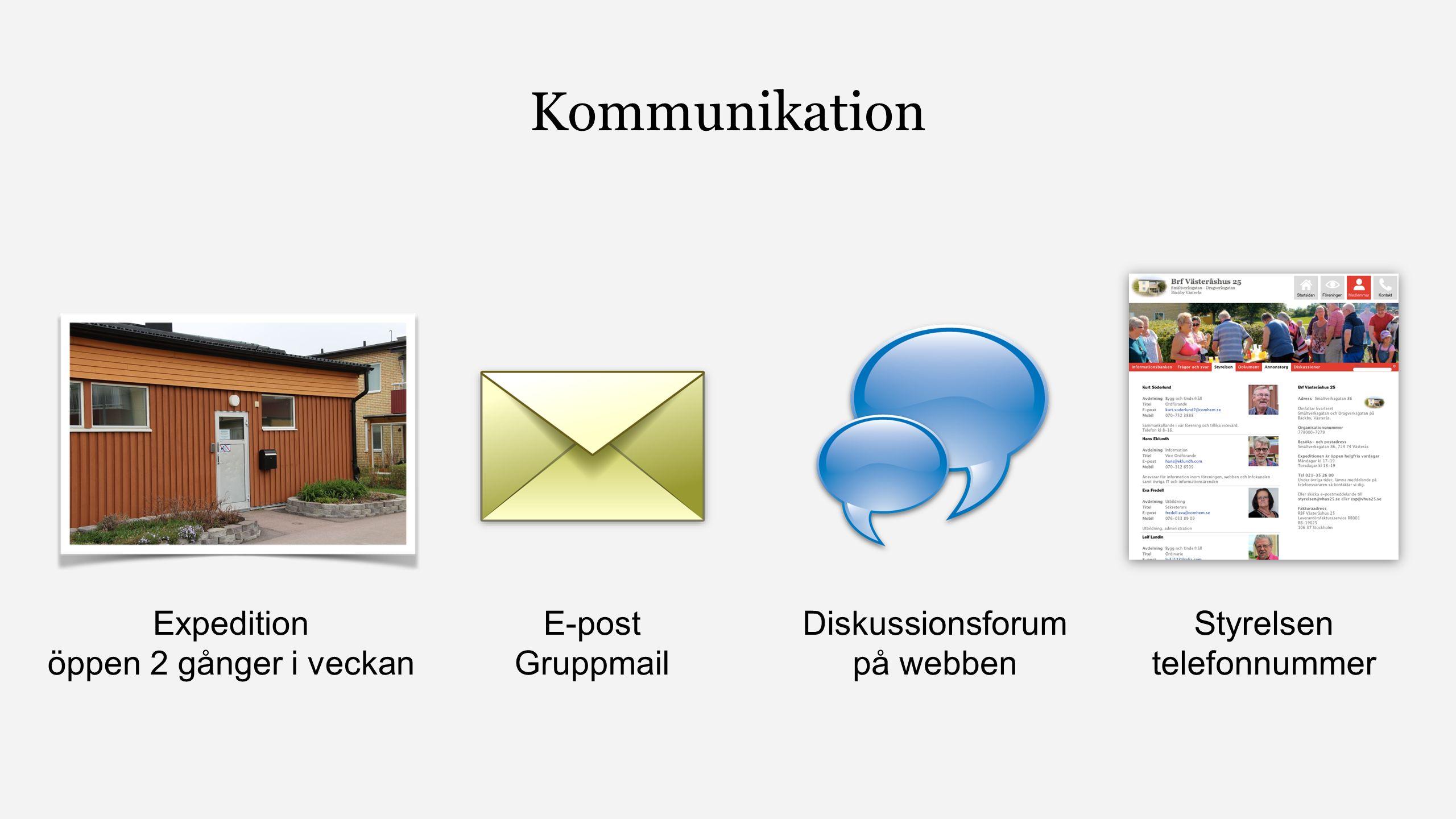 Kommunikation Expedition öppen 2 gånger i veckan E-post Gruppmail Diskussionsforum på webben Styrelsen telefonnummer