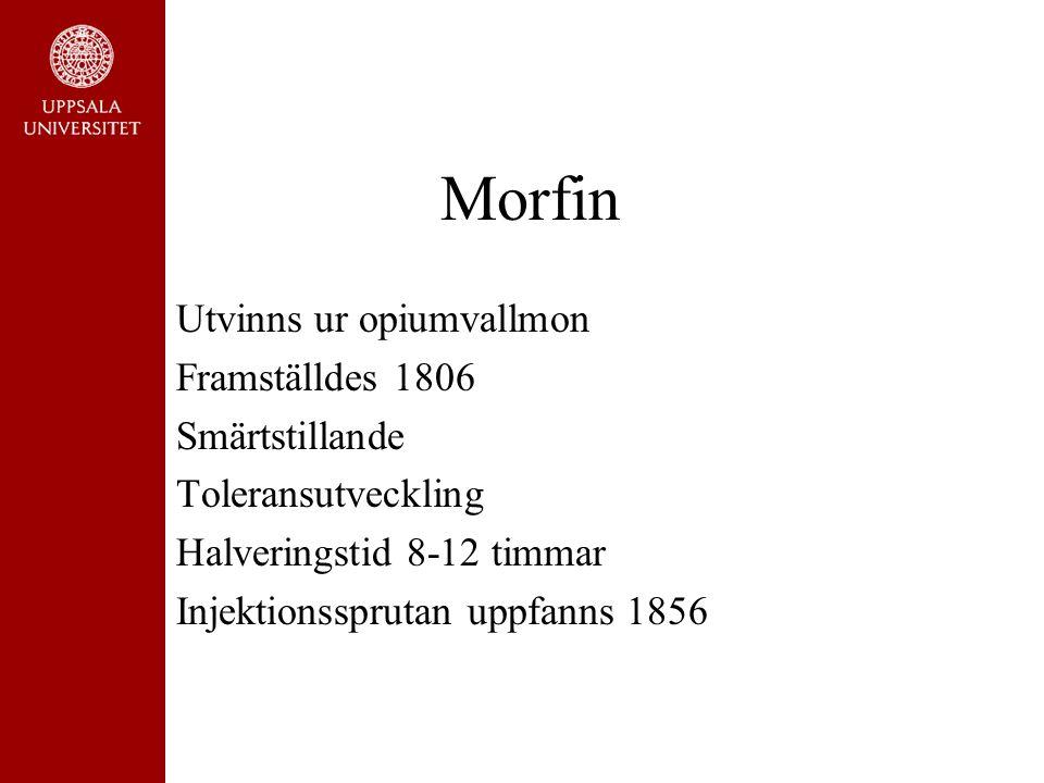 Morfin Utvinns ur opiumvallmon Framställdes 1806 Smärtstillande Toleransutveckling Halveringstid 8-12 timmar Injektionssprutan uppfanns 1856